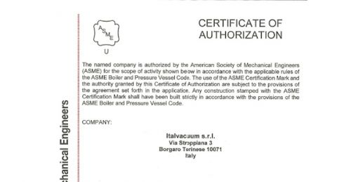 Italvacuum obtained ASME certification for the entire product line